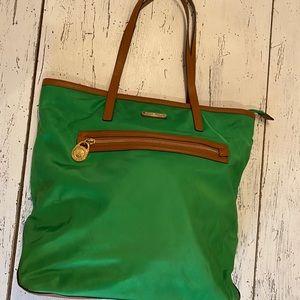 Green nylon and leather trim Michael Kors bag